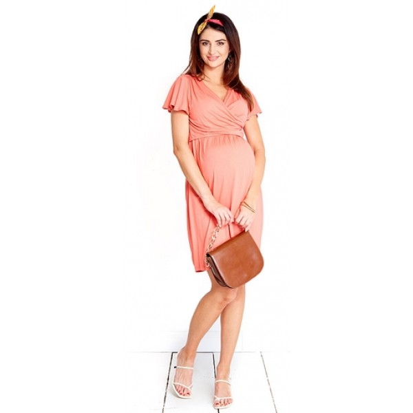 Tehotenské šaty Mummy peach dress (D1004d)