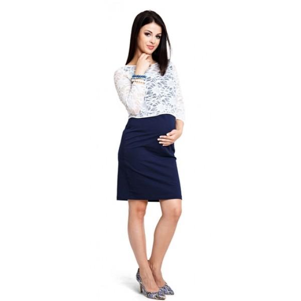 Tehotenská blúzka Lace cream top b1201a