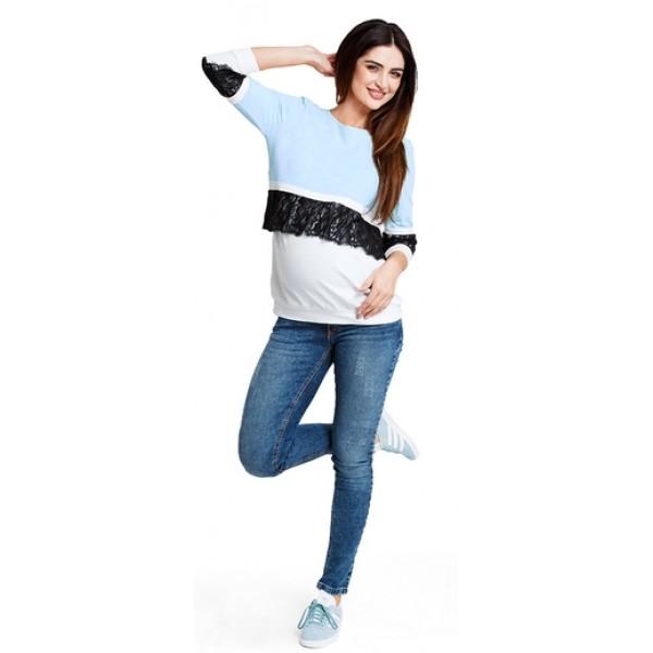 Tehotenská mikina Candy floss blue sweatshirt b1214b