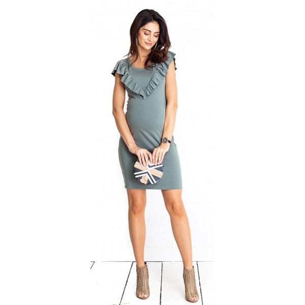 Tehotenské šaty Lulu khaki dress (D1016a)