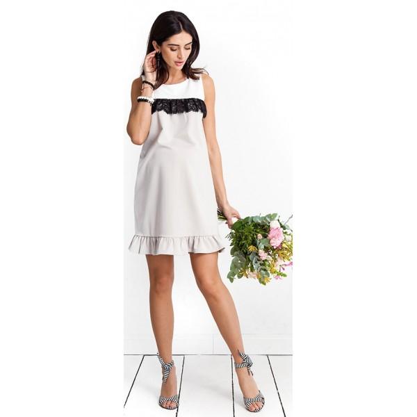 Tehotenské šaty Candy floss beige dress (D9039a)