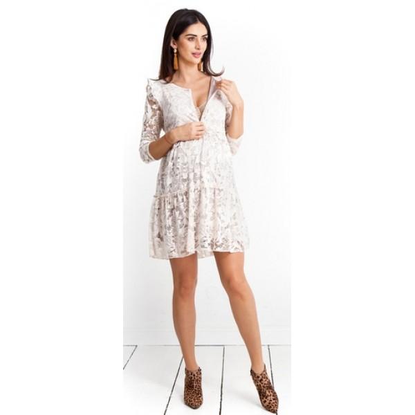 Těhotensé šaty Natalie latte dress (d983c)