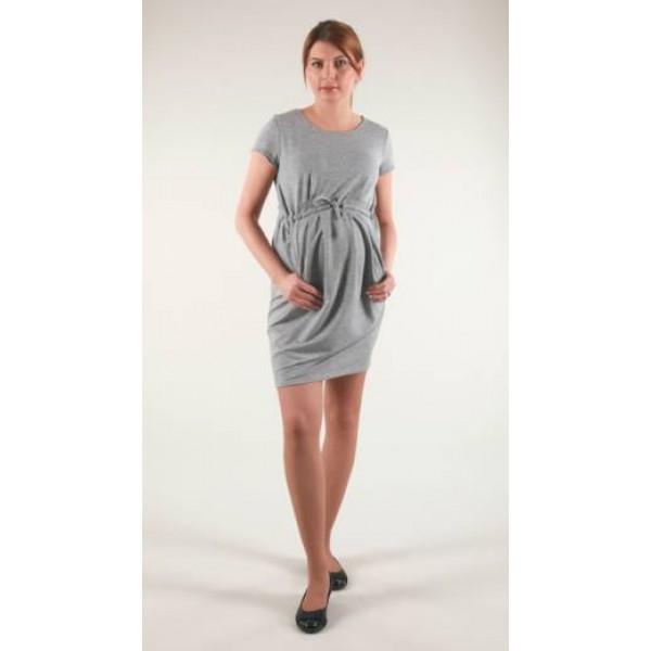 SIvé úpletové šaty s viazaním BR1544