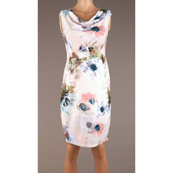 Kvetované tehotenské úpletové šaty BR4348