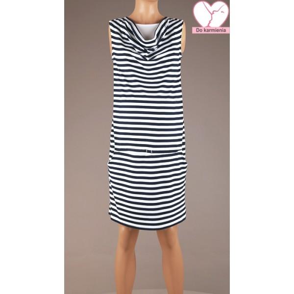 Pruhované tehotenské úpletové šaty BR4354