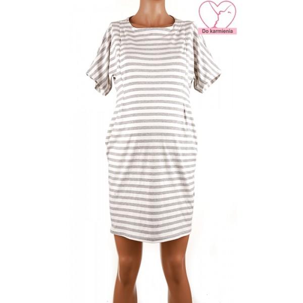 Pruhované tehotenské úpletové šaty BR4360