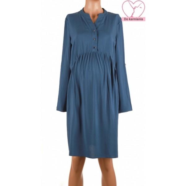 Modré tehotenské košeľové šaty BR4621