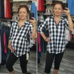 Čierno-biela kKockovaná tehotenská košeľa 3562