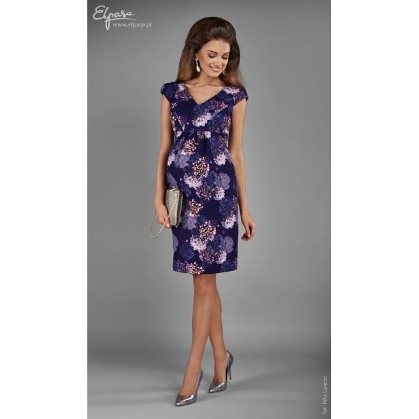 Fialové elegantné tehotenské šaty HORTENSJA