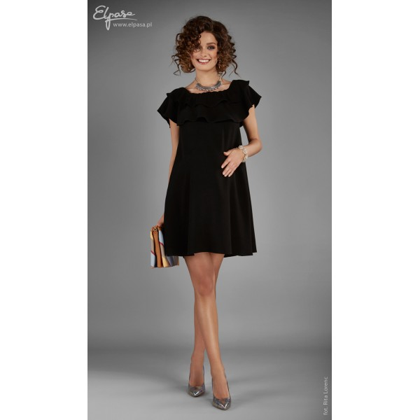 Čierne romantické tehotenské šaty s volánom RASHIDA 2047