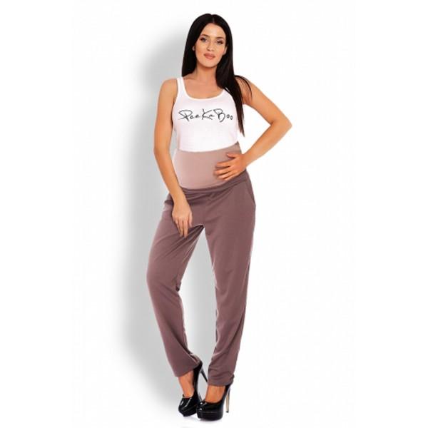Hnedé tehotenské úpletové nohavice PKB1276