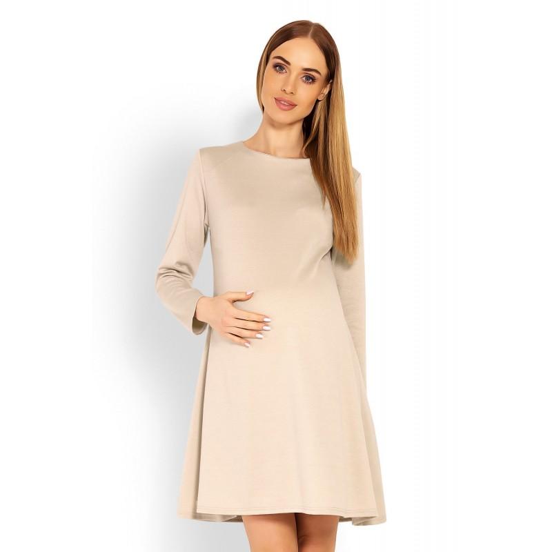 88e4c4962412 Béžové tehotenské áčkové šaty PKB1359C