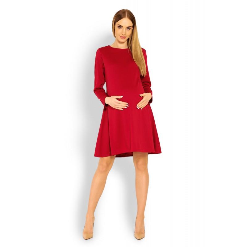 1939a4c55823 Červené tehotenské áčkové šaty PKB1359C