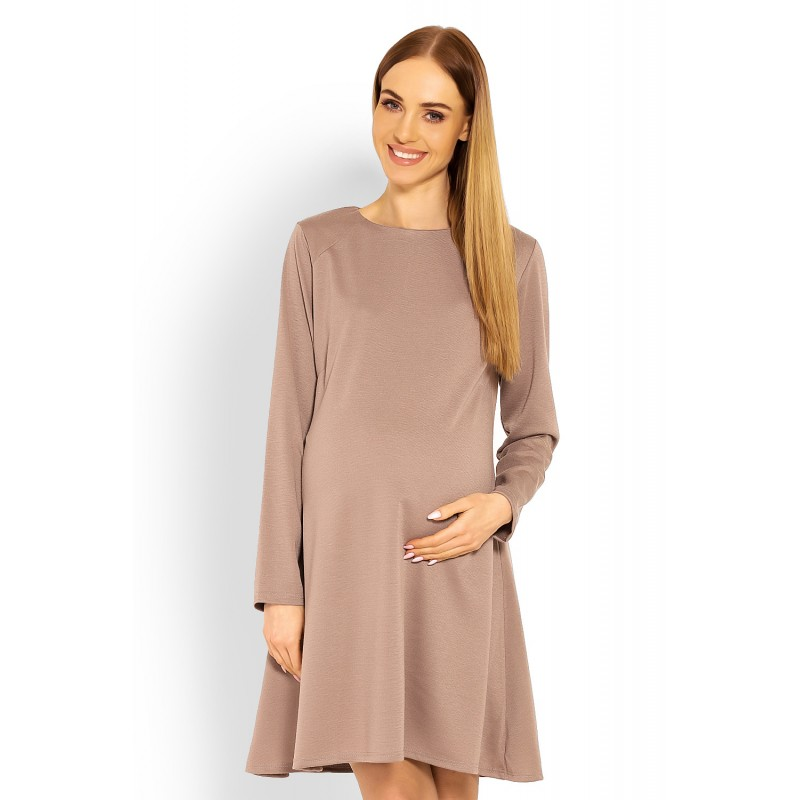 Kapučínové tehotenské áčkové šaty PKB1359C b82a70f8711