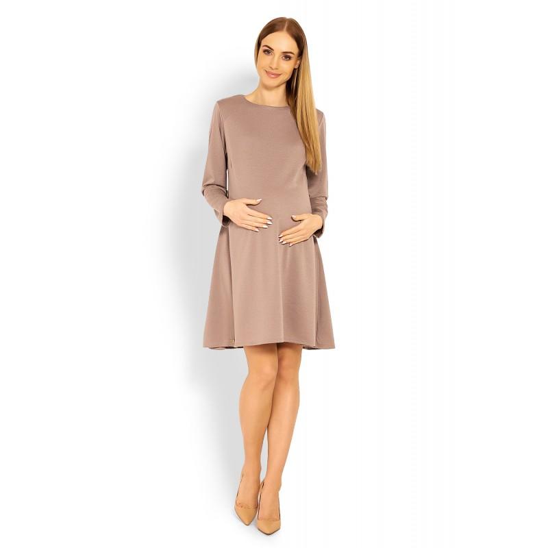 baf182e8598d Kapučínové tehotenské áčkové šaty PKB1359C