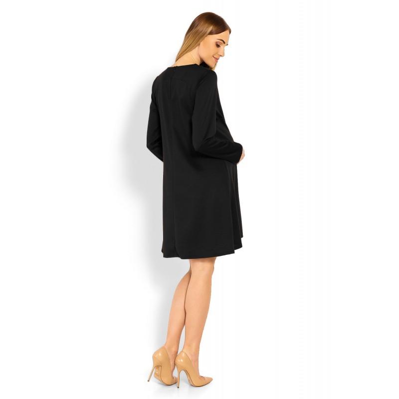0207ceb1aeb3 Čierne tehotenské áčkové šaty PKB1359C
