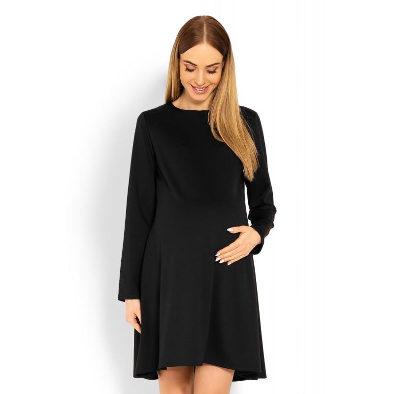 8cce80c55cd2 Čierne tehotenské áčkové šaty PKB1359C