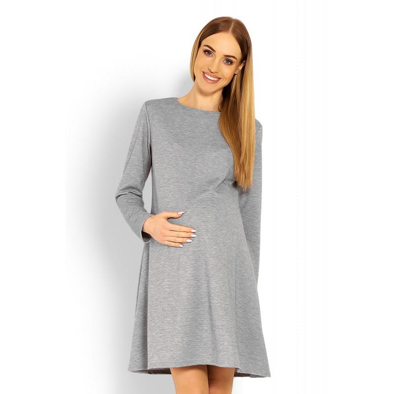 b1e27924014e Šedé tehotenské áčkové šaty PKB1359C