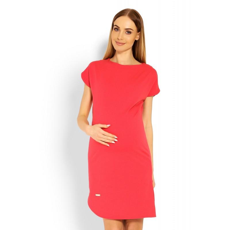 579ec26e721 Koralové asymetrické tehotenské šaty PKB1629C