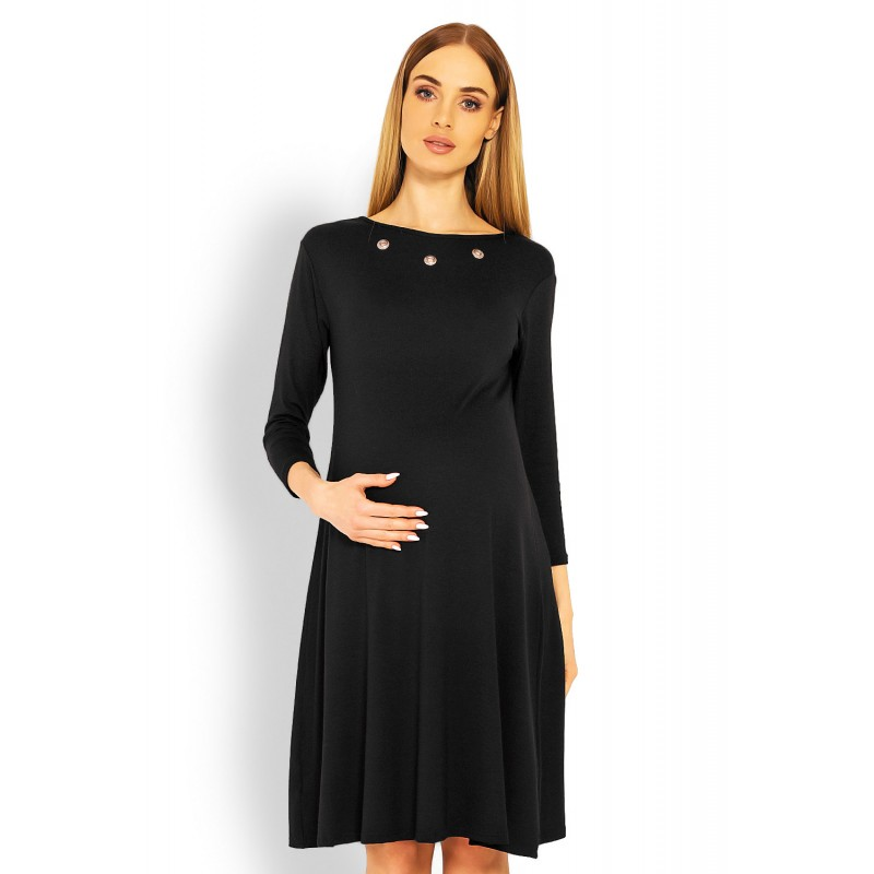 e4b4049b3b71 Čierne tehotenské áčkové šaty s výstirhom na chrbte PKB1631C
