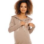 Béžovohnedé púzdrové úpletové šaty s kapucňou PKB1580