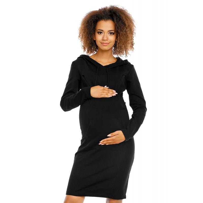 Čierne púzdrové úpletové šaty s kapucňou PKB1580 74998dfbce9
