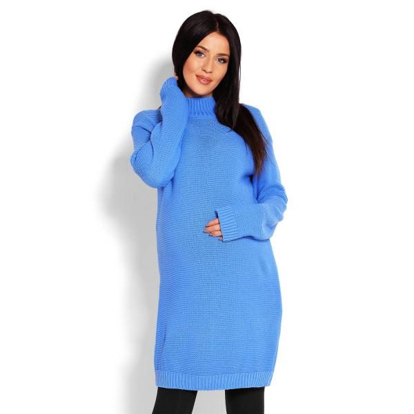 Modrý rolákový oversize sveter 40009C