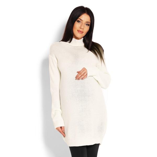 Smotanovo biely rolákový oversize sveter 40009C