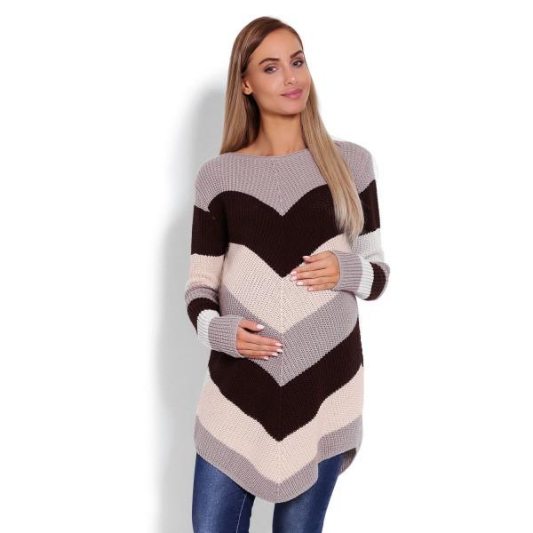 Hnedý zaokrúhlený sveter so šikmými pásikmi 40013C