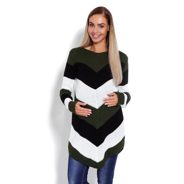 Khaki zaokrúhlený sveter so šikmými pásikmi 40013C