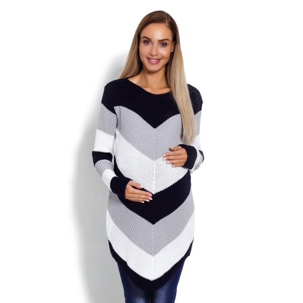 Tmavomodrý zaokrúhlený sveter so šikmými pásikmi 40013C
