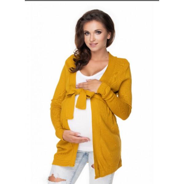 Žltý krátky kardigán s viazaním PKB40043