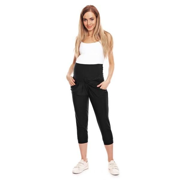 Čierne 3/4 tehotenské nohavice s mašličkou PKB0140