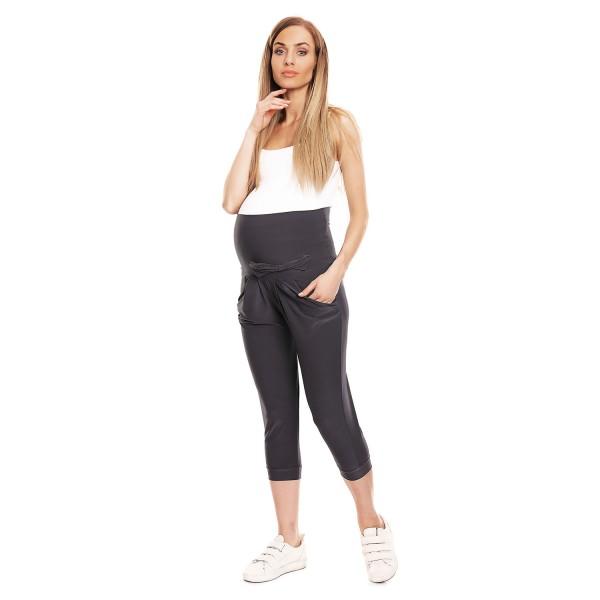 Grafitové 3/4 tehotenské nohavice s mašličkou PKB0140
