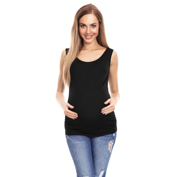 Čierne tehotenské tielko s riasením PKB0141