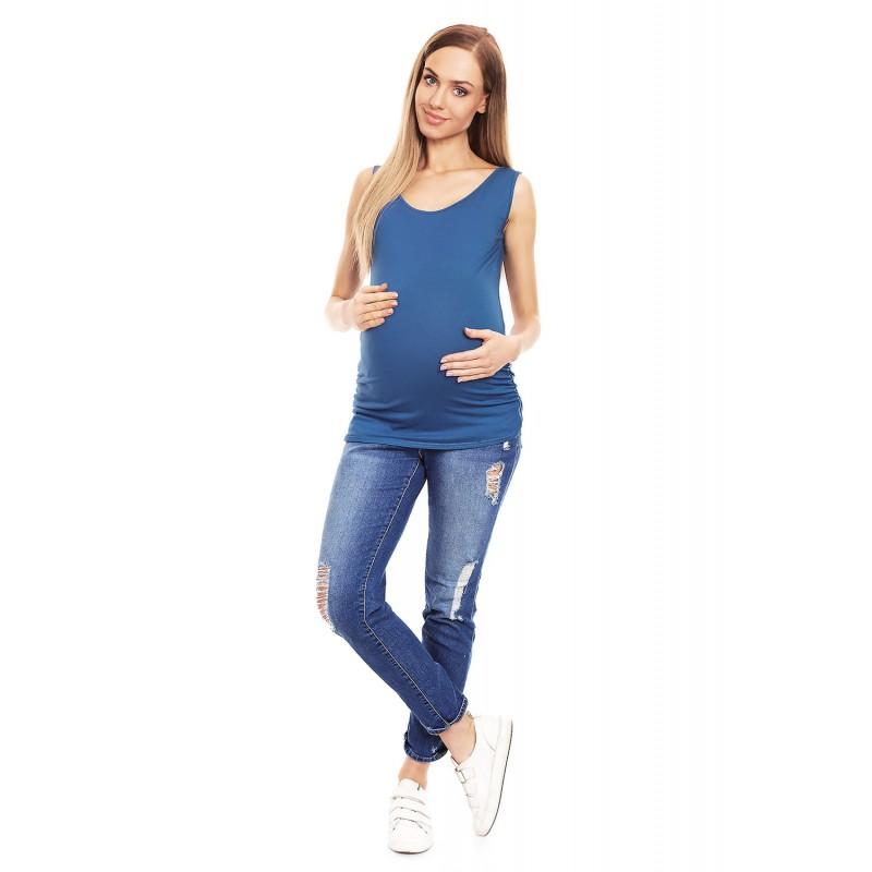 3fc1d0c31426 Modré tehotenské tielko s riasením PKB0141