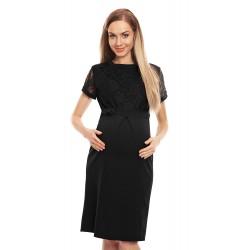 ff182847154c Ľahučké čierne šaty s čipkovým dekoltom 0127