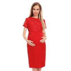 d5fa244384cc Ľahučké červené šaty s čipkovým dekoltom 0127
