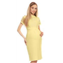 a7be310e4f0f Ľahučké žlté šaty s čipkovým dekoltom 0127