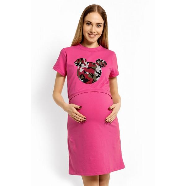 Amarantová nočná úpletová košeľa na dojčenie MYŠKA PKB1625C