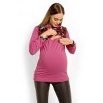 Amarantový top na dojčenie s dlhým rukávom MORO PKB1627C