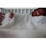 Detská pletená deka do kočiara K002 Biela