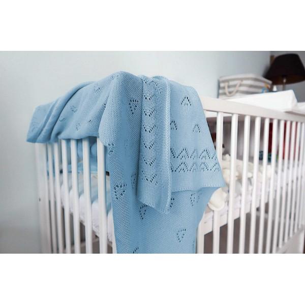 Detská pletená deka do kočiara K004 blankyt