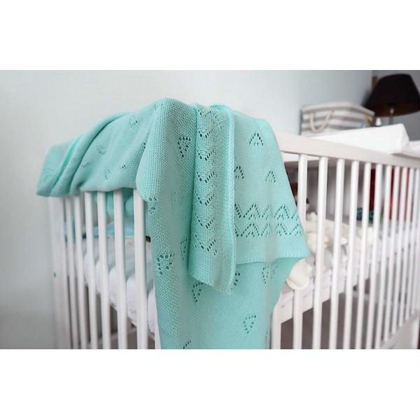 Detská pletená deka do kočiara K004 Mäta