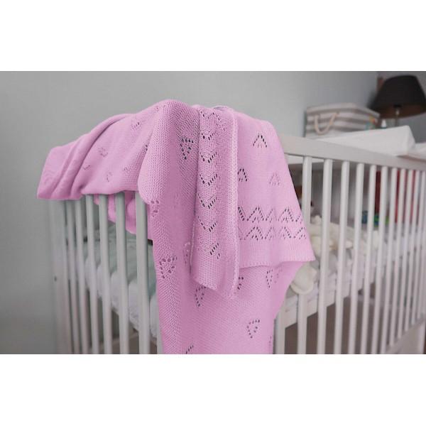 Detská pletená deka do kočiara K004 Ružová