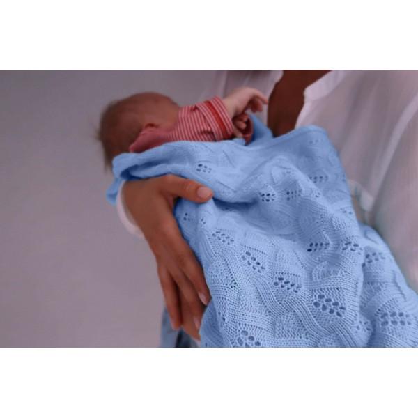 Detská pletená ažurová deka do kočiara K005 Blankyt