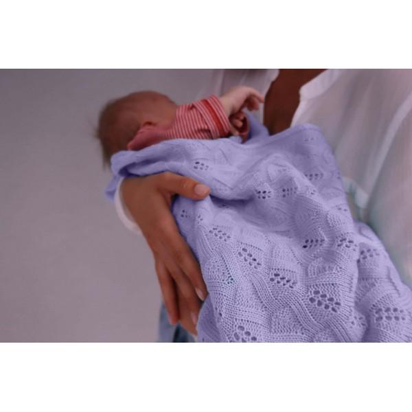 Detská pletená ažurová deka do kočiara K005 lila