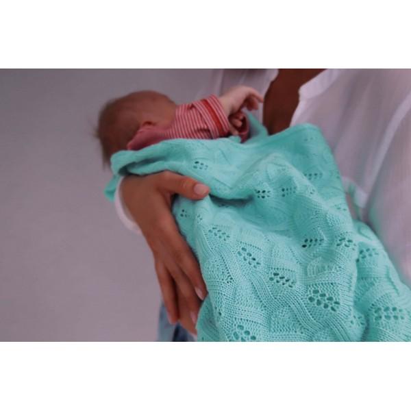 Detská pletená ažurová deka do kočiara K005 Mäta
