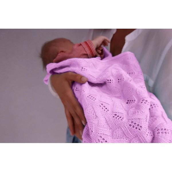 Detská pletená ažurová deka do kočiara K005 Ružová