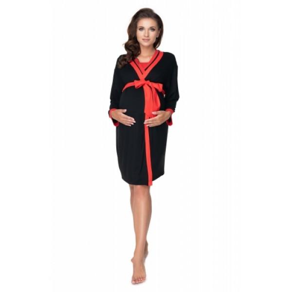 Súprava - čierny župan a nočná košeľa na dojčenie PKB0149